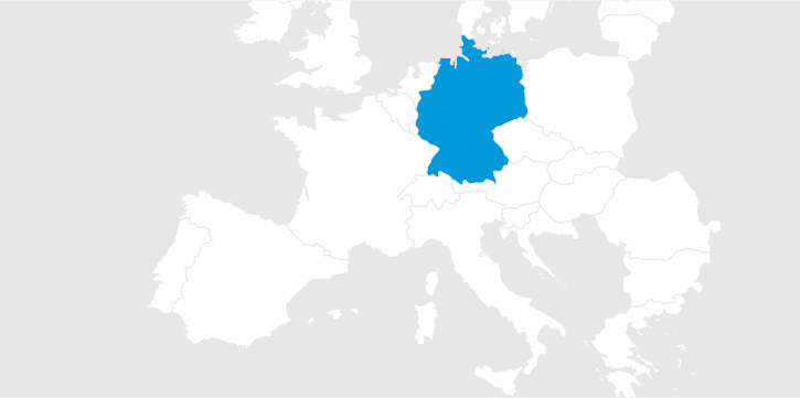 Map of Europe with Germany marked blue