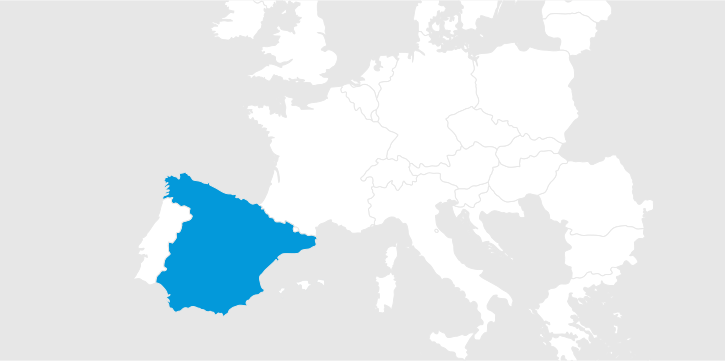 Map of Europe with Spain marked blue